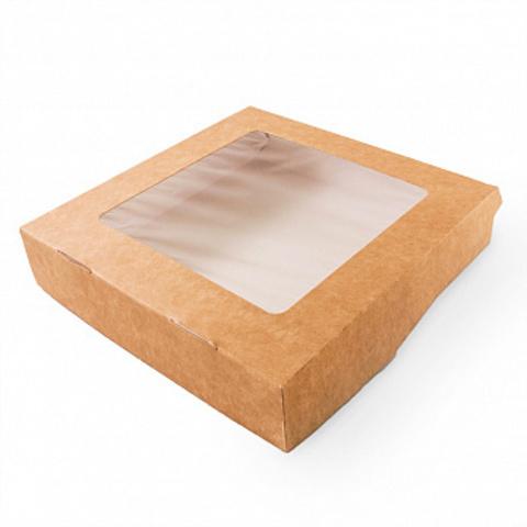 Коробка 20*20*5см, с окном, крафт