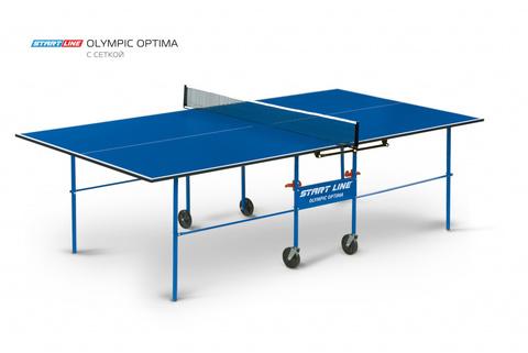Olympic Optima blue - компактный складной теннисный стол, цвет синий