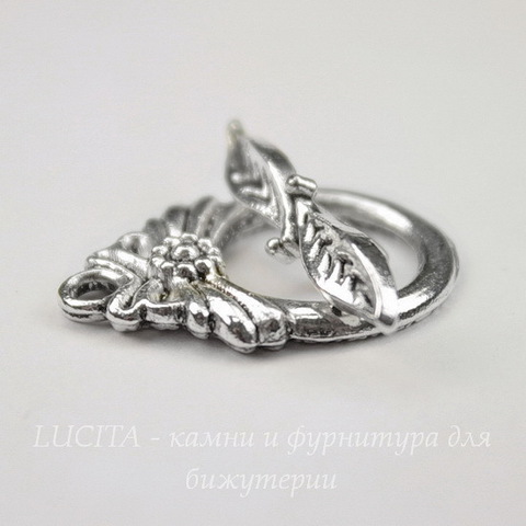 "Замок - тоггл из 2х частей ""Ананас"" (цвет - античное серебро) 24х17 мм, 24 мм"
