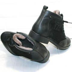 Теплые зимние мужские ботинки на меху Luciano Bellini 6057-58K Black Leathers & Nubuk.