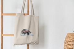 Сумка-шоппер с принтом BMW (БМВ) бежевая 002
