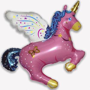 Фольгированный шар Волшебный Единорог розовый 113 X 108см