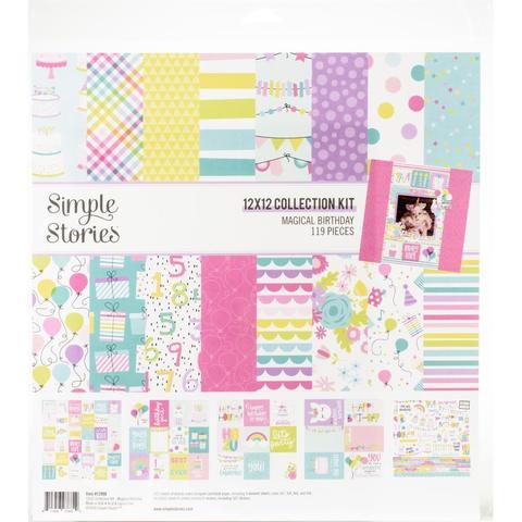 Набор двусторонней бумаги 30х30см со стикерами  Simple Stories Collection Kit -  Magical Birthday