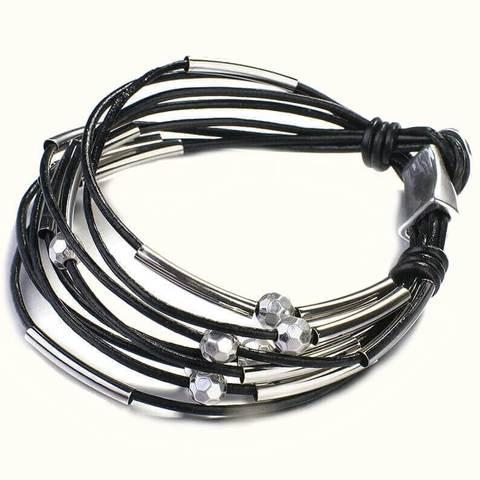 женский браслет черные кожаные шнуры с серебряными шармами-шарами