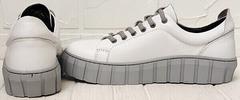Кожаные белые кеды кроссовки на платформе женские Guero G146 508 04 White Gray.