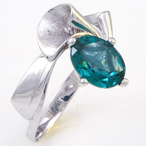 Кольцо из серебра с турмалином параиба Арт.1118п