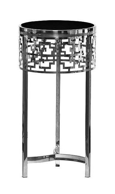Стол журнальный 13RXFS5080L-SILVER стекло черн./серебро d35*70см