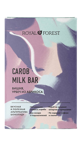 Шоколад ROYAL FOREST CAROB вишня, урбеч абрикосовый, 50гр. (ТрансКэроб)