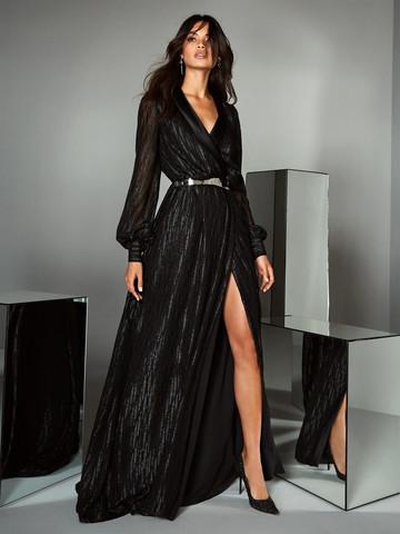 Вечернее платье классическое черное с длинными рукавами