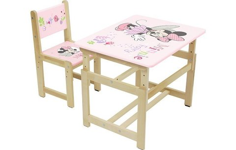 Комплект растущей детской мебели Polini Kids Disney baby 400 SM, Минни Маус, 68х55, розовый-натураль