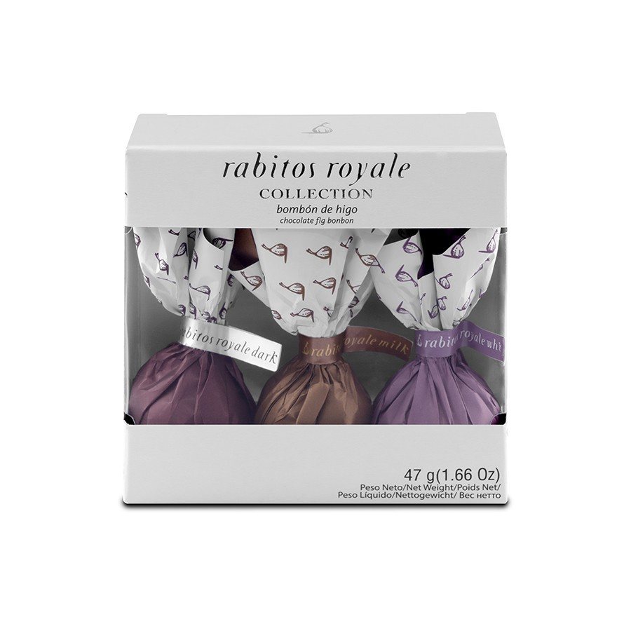 Конфеты Инжир в чёрном, молочном,белом шоколаде Коллекция 3 вкуса Rabitos 47 г 3 конфеты