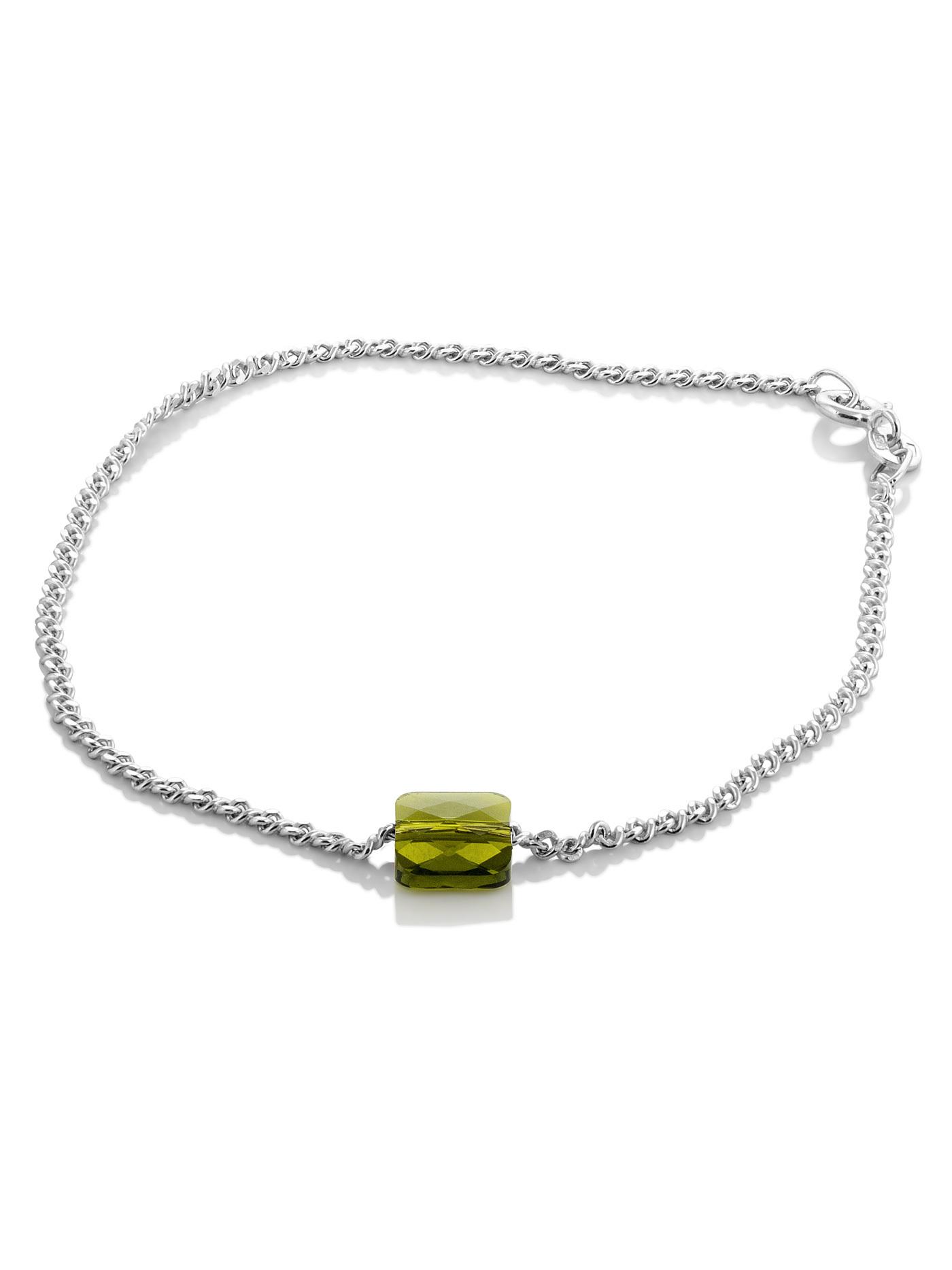 Серебряный браслет на ногу с кристаллом Swarovski