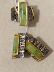 Тоскана мал- нефрит (кольцо + серьги из серебра)