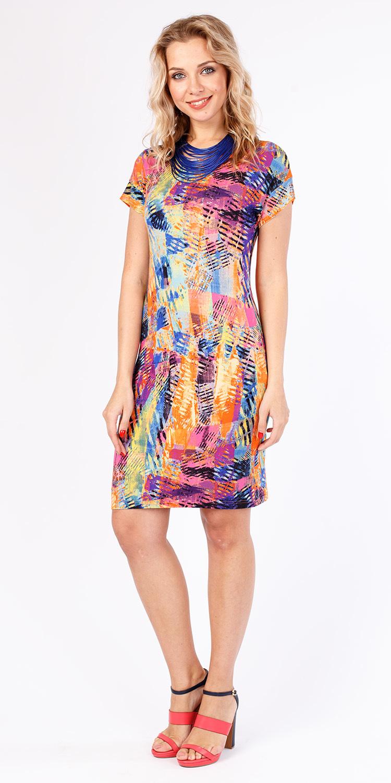 Платье З205-636 - Трикотажное платье с принтом облегающего силуэта и цельнокроеным рукавом. Приятная на ощупь, комфортная ткань для повседневной носки. Эта модель станет неотъемлемой частью летнего, повседневного гардероба.