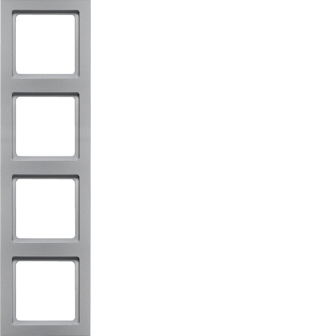 Рамка на 4 поста. Цвет Алюминий. Berker (Беркер). Q.3. 10146094