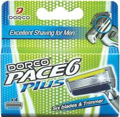 Сменные кассеты с триммером для бритвенной системы Dorco PACE 6 Plus 4 шт