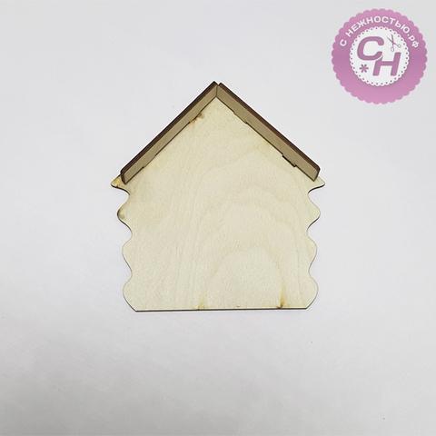 Ключница-домик с козырьком, 14*15*0,7 см, деревянная, 1 шт.