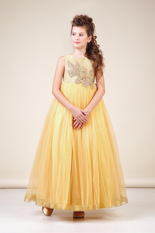 Платье золотистое для девочки 38-8035-1