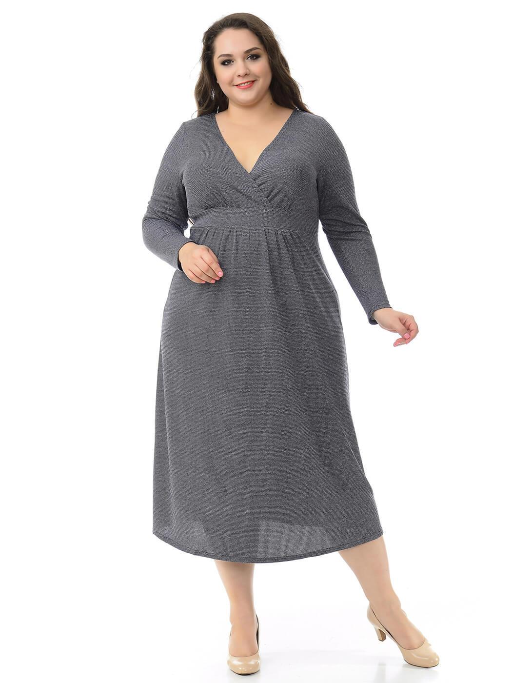 Платье миди из меланжа
