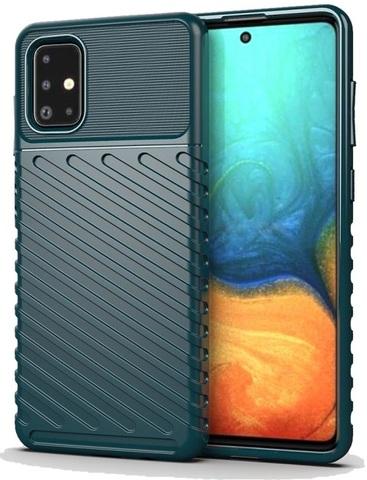 Ударопрочный чехол на Samsung Galaxy A71 с текстурным рисунком, темно-зеленый цвет, серии Onyx от Caseport