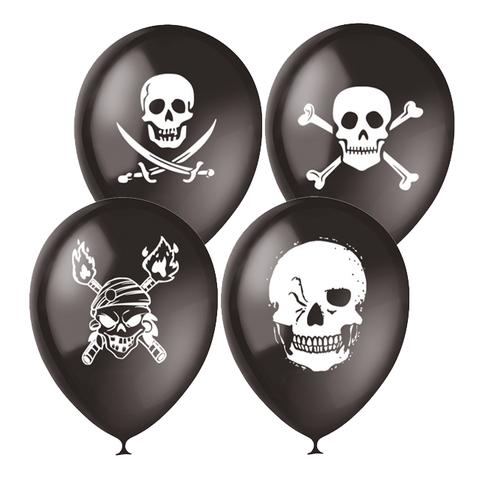 Воздушные шары с черепом черные