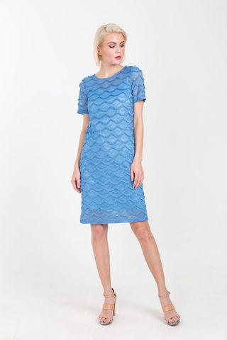 Фото кружевное платье прямого силуэта голубого цвета - Платье З355-154 (1)
