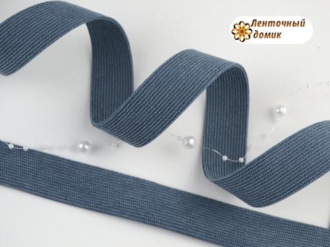 Лента вельвет двухсторонний джинс 25 мм