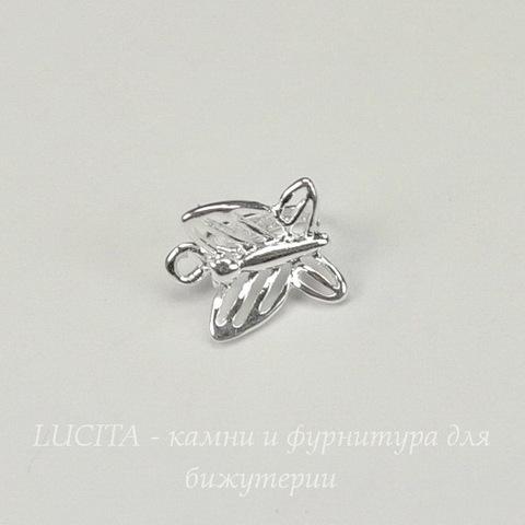 "Держатель кулона маленький ""Бабочка"" 9х8 мм (цвет - серебро)"