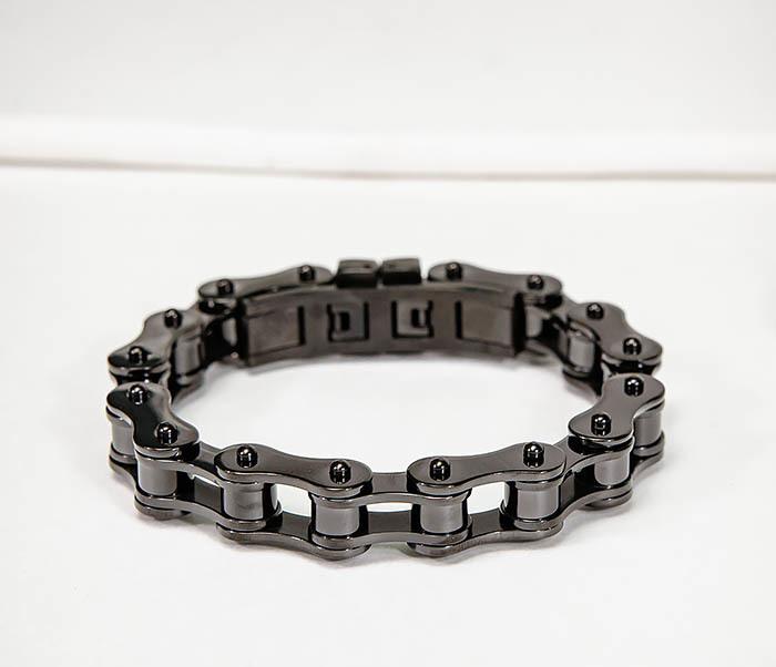 BM574-1 Стальной браслет мото цепь черного цвета