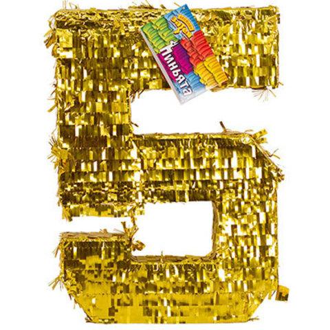 Пиньята Цифра 5 Золото