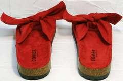 Модные женские босоножки шлепанцы биркенштоки Comer SAR-15 Red.