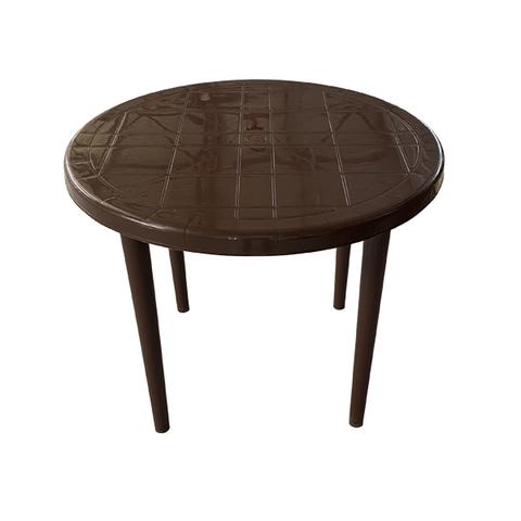 Cтол пластиковый круглый коричневый