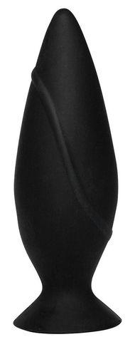 Черная анальная втулка с присоской - 9,7 см.