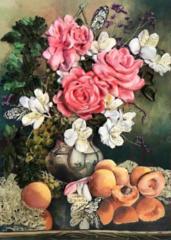 Алмазная Мозаика + Багет 40x50 Букет роз и персики (арт. DA-1490)