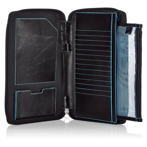Мультипортмоне Piquadro Blue Square, черное, 22,5х6х2,5 см