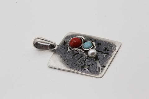 Подвеска из серебра 925 пробы с миксом из поделочных камней