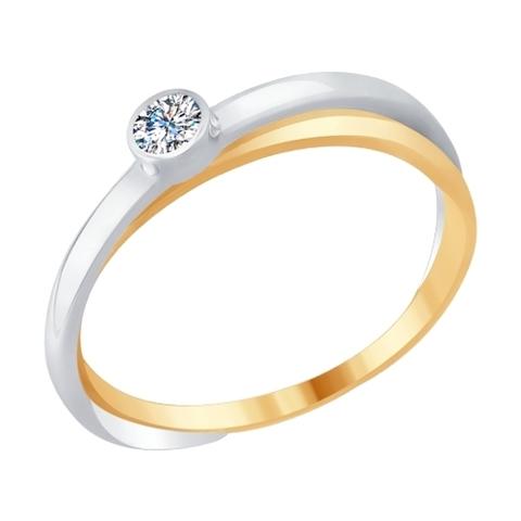 1011685 - Кольцо из комбинированного золота с бриллиантом