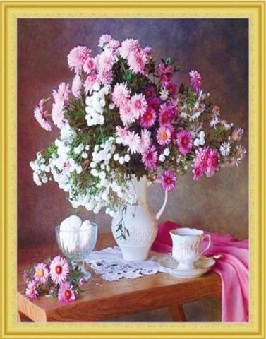 Алмазная Мозаика 50x65 Бело-розовый натюрморт с зефиром