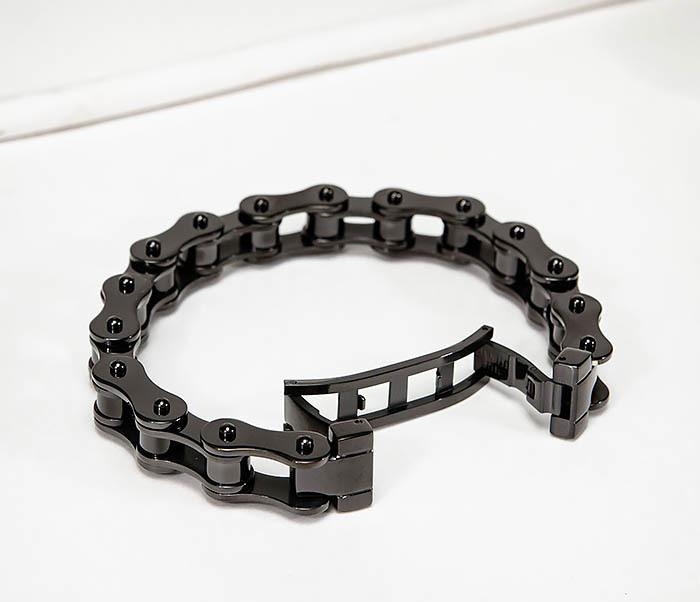 BM574-1 Стальной браслет мото цепь черного цвета фото 02