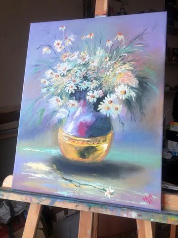 Картина маслом на холсте Ромашки. 50х40 см. Ручная работа