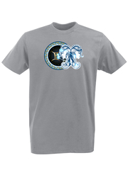 Футболка с принтом Знаки Зодиака, Близнецы (Гороскоп, horoscope) серая 004