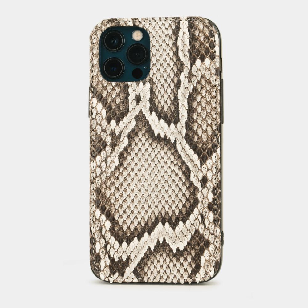 Чехол-накладка для iPhone 12/12Pro из натуральной кожи питона, цвета Natur