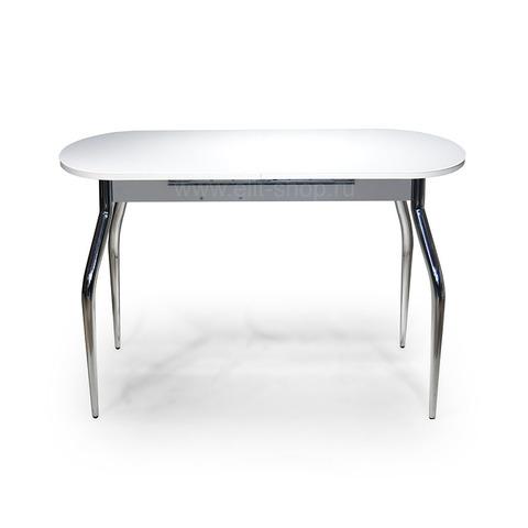 Стол СОЛЬДИ  Белый / подстолье белое / исполнение 2 / опора №1 хром / 110(142)х70см