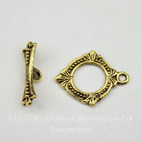 Замок - тоггл из 2х частей 18х15 мм (цвет - античное золото)