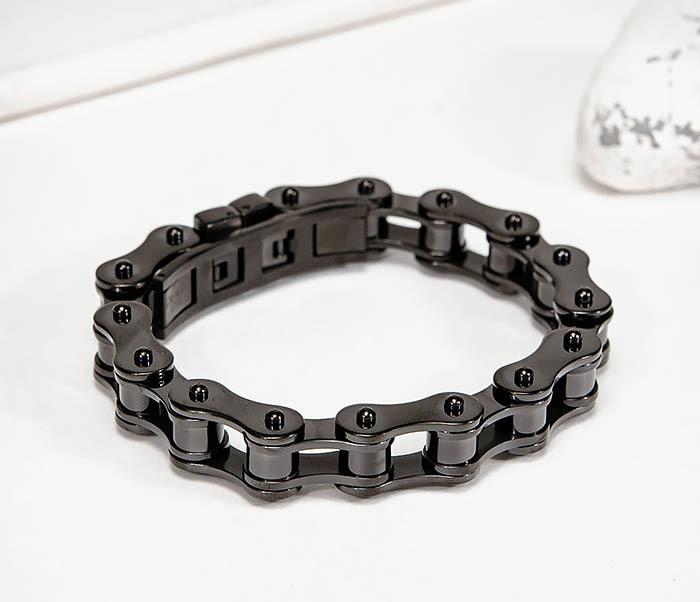 BM574-1 Стальной браслет мото цепь черного цвета фото 04