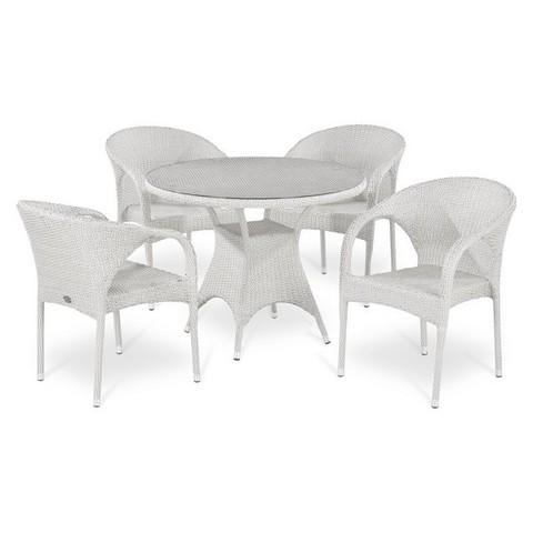 Обеденный комплект плетеной мебели из искусственного ротанга T220CW/Y290W-W2 White 4Pcs