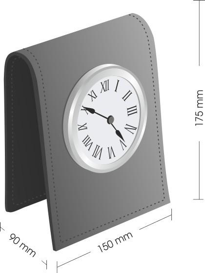 Схема с размером настольных часов с кожаным корпусом.