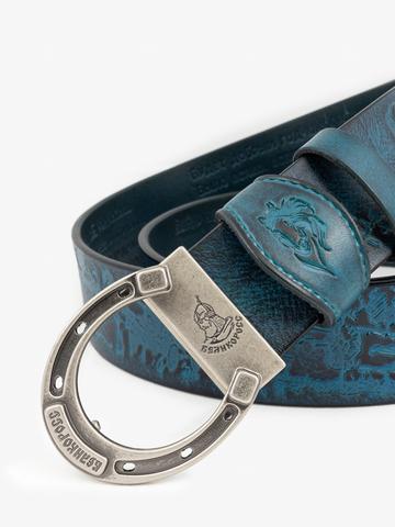Ремень «В поле с конём» синего цвета