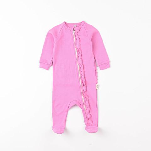 Zip-up sleepsuit with ruffles 0+, Peony