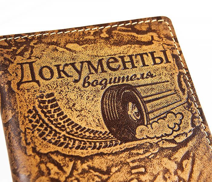 BY04-04-09 Кожаная обложка «Документы водителя», тиснение фото 02